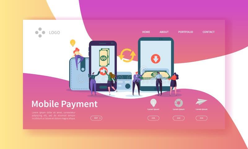 网路银行着陆页 与付付款的平的人字符的流动付款横幅使用智能手机网站 向量例证
