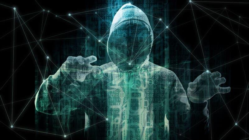 网际空间数据交换的项目,未来派新的软件抽象概念的技术抽象二进制编码 皇族释放例证
