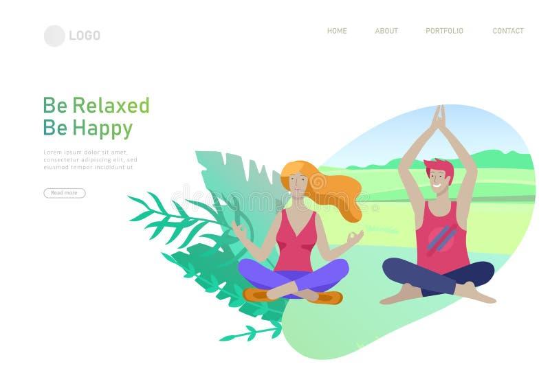 网页与人的设计模板和妇女思考,在家坐在瑜伽姿势和在室外 实践瑜伽教训  向量例证