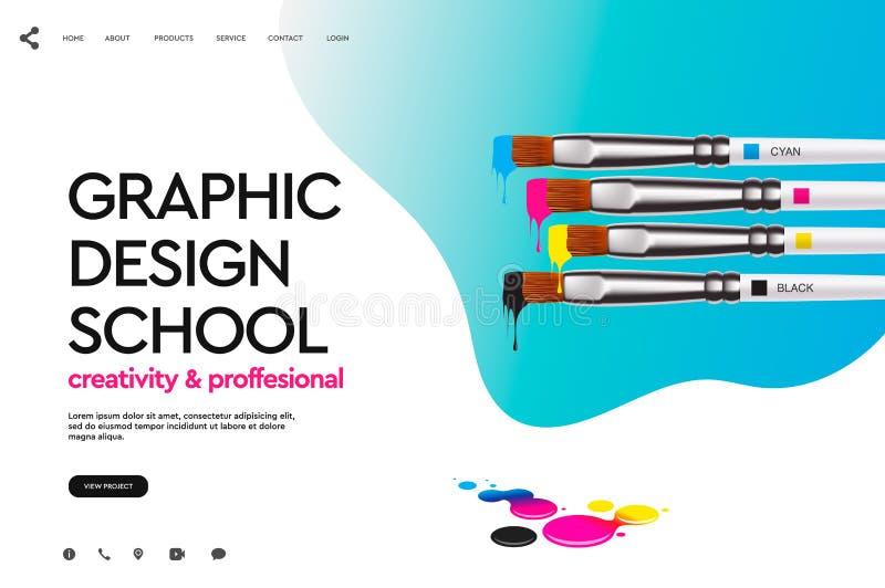 网页图形设计学校的,演播室,路线,类,教育设计模板 现代设计传染媒介例证 库存例证