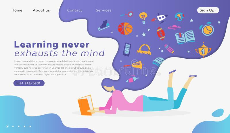 网页教育的设计模板,学会,回到学校 网站和机动性的现代传染媒介例证概念 库存例证