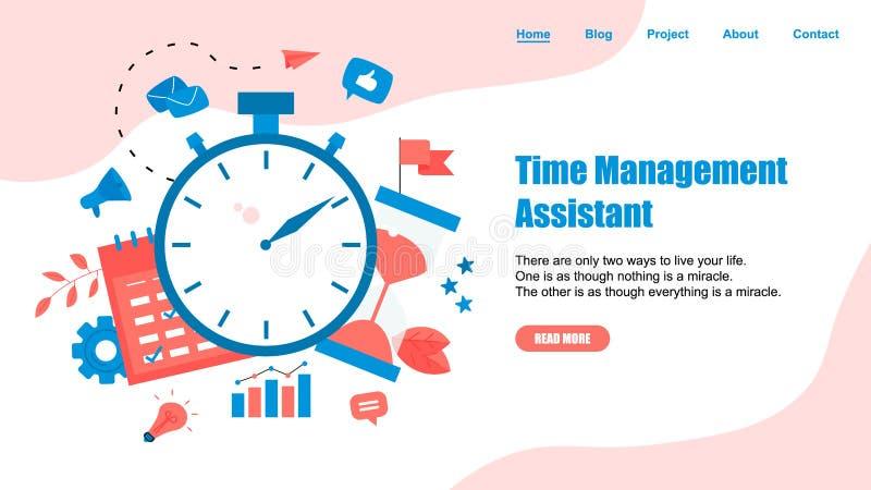 网页模板 时间管理助理的概念有企业象的 皇族释放例证