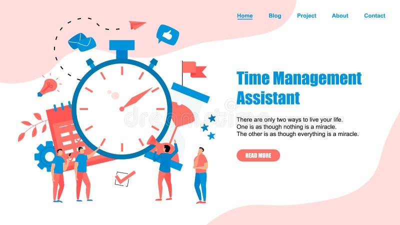 网页模板 时间管理助理的概念有企业象的 库存例证