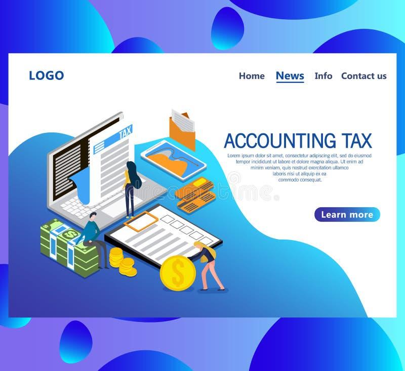 网页认为的税等量传染媒介概念的设计模板 库存例证