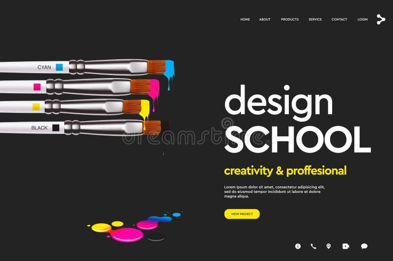 网页设计学校的,演播室,路线,类,教育设计模板 现代设计传染媒介例证概念 皇族释放例证