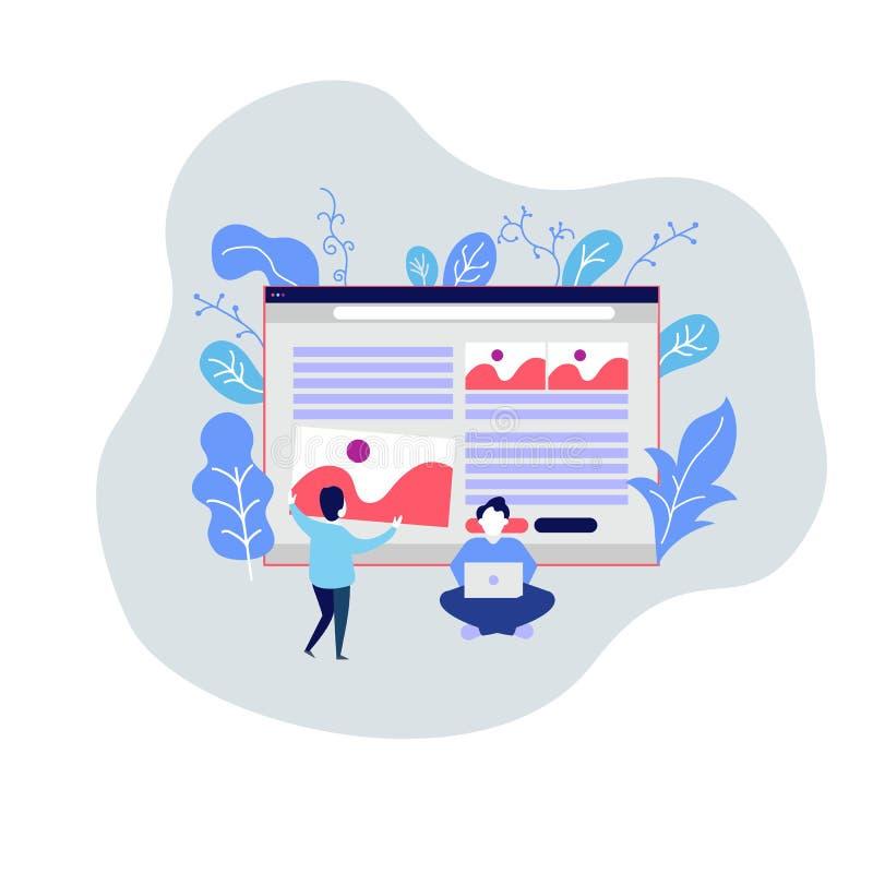 网页设计模板 网站的SEO,企业解答,网络设计现代传染媒介例证概念,自由职业者 向量例证