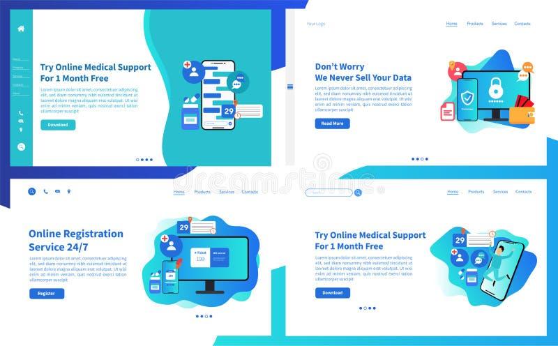 网页设计网上医疗支持特点的模板汇集 网站和MOBIL的现代传染媒介例证概念 库存例证
