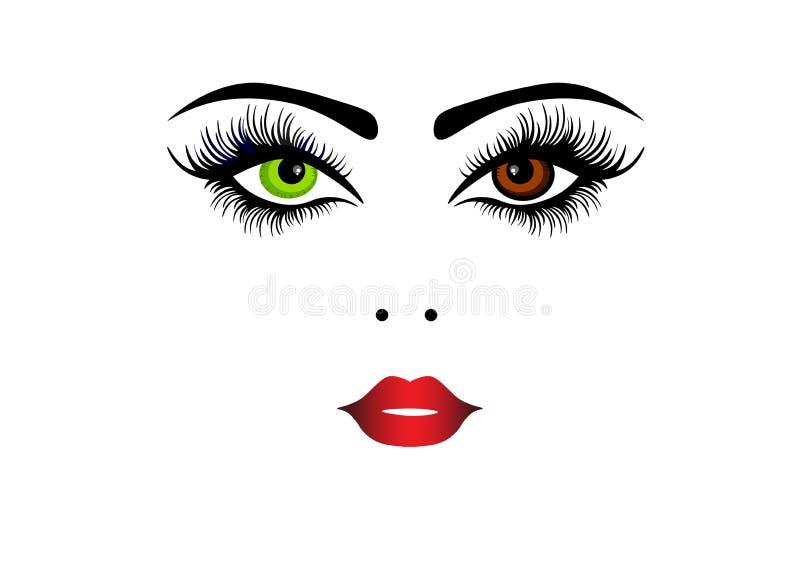 网魅力时尚秀丽妇女与时尚题字面孔秀丽的面孔例证 向量例证