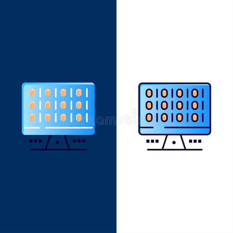 网,计算机,计算,服务器象 舱内甲板和线被填装的象设置了传染媒介蓝色背景 库存例证