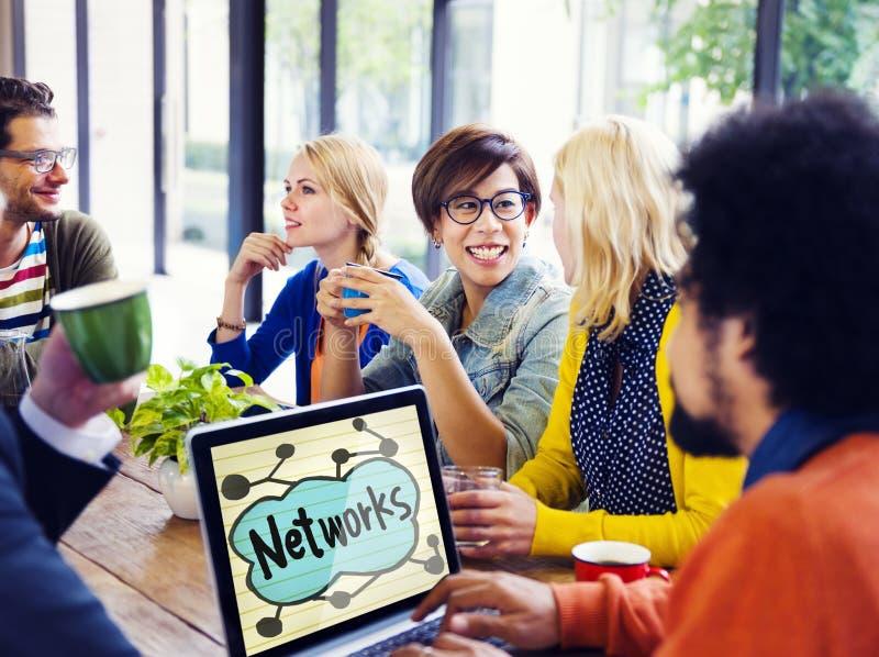 网络友谊会议激发灵感企业队概念 库存照片