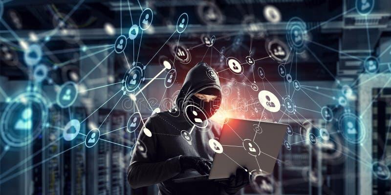 网络安全和保密性罪行 混合画法 混合画法 图库摄影