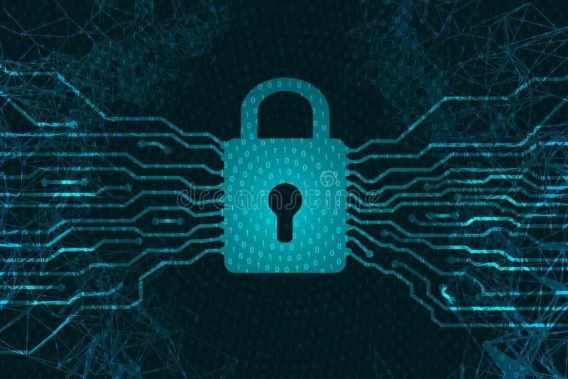 网络安全 以处理器的形式挂锁 信息保护 在互联网上的罪行 反对攻击的抗病毒对da 向量例证