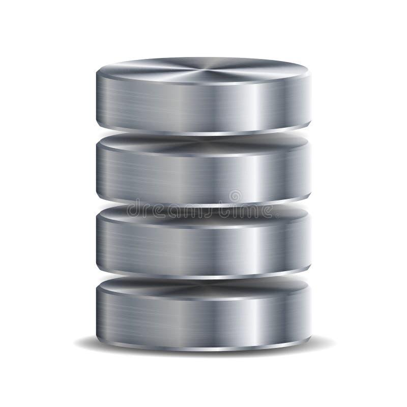 网络数据库圆盘象传染媒介 高度计算机硬盘的详细的例证 银,镀铬物金属 备用概念Isolat 皇族释放例证