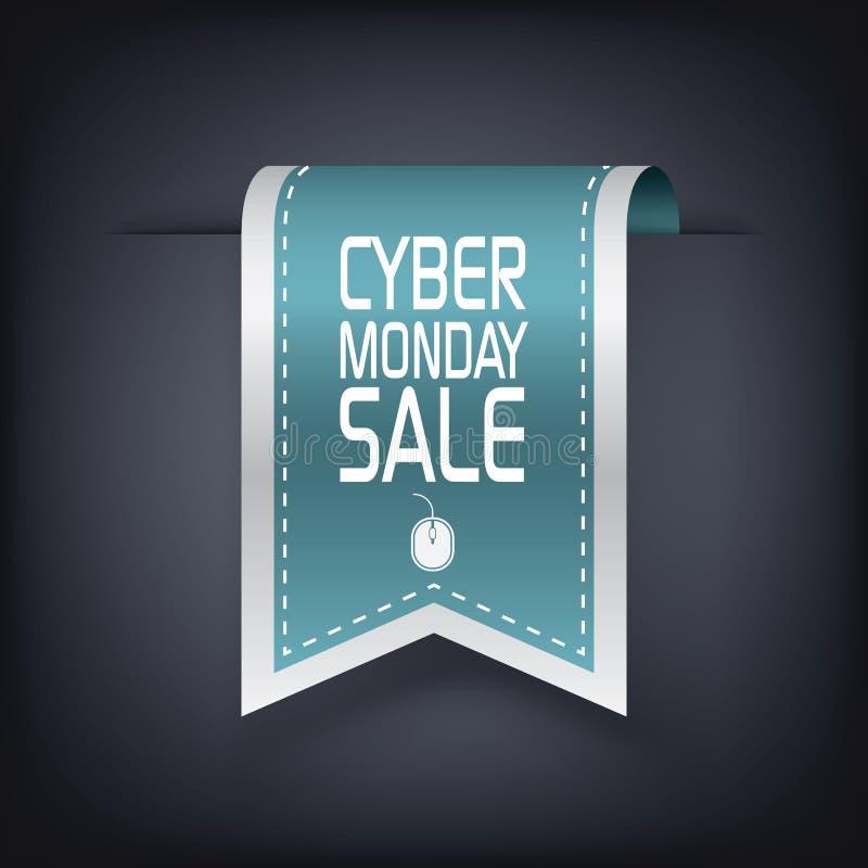 网络星期一销售垂直的丝带元素为 库存例证