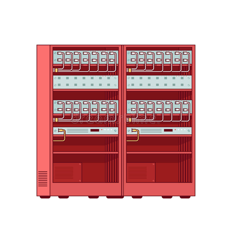 网络服务系统机架 网路服务设备 向量例证