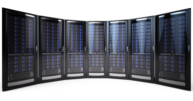 网络服务系统机架 库存例证