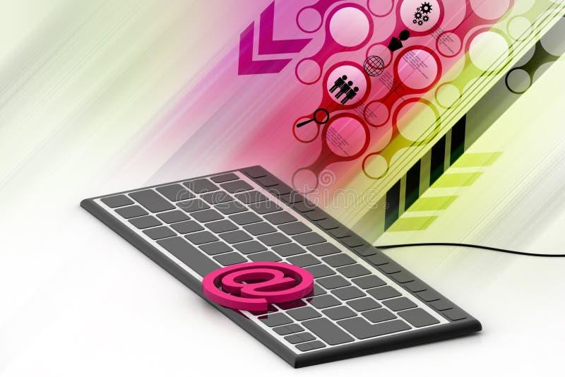 网络电子邮件与一个按钮的通信概念在键盘 向量例证