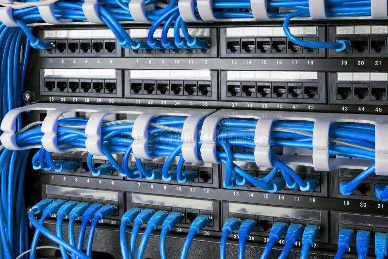 网络盘区、开关和互联网在数据中心缚住 黑开关和蓝色以太网电缆,数据中心概念 免版税库存照片