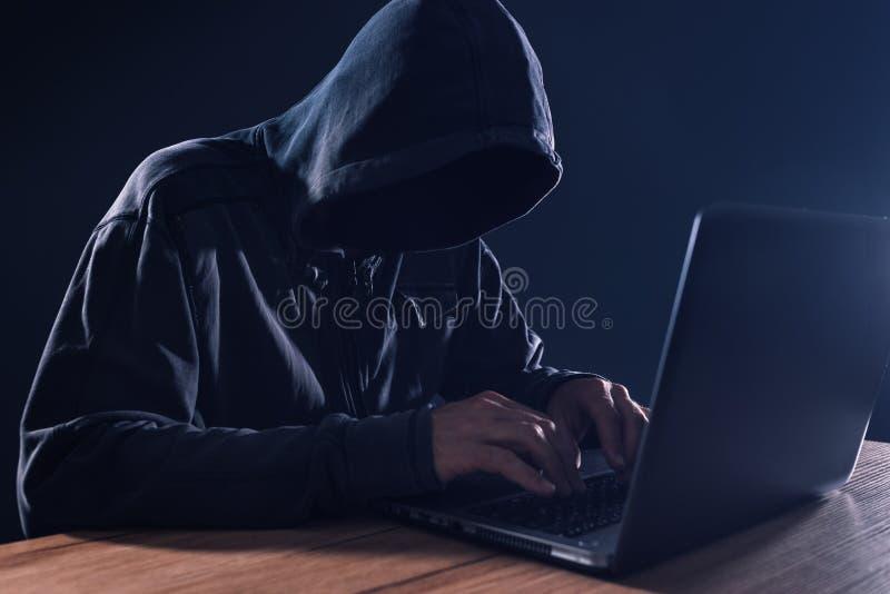 网络罪行和计算机病毒概念 免版税库存图片