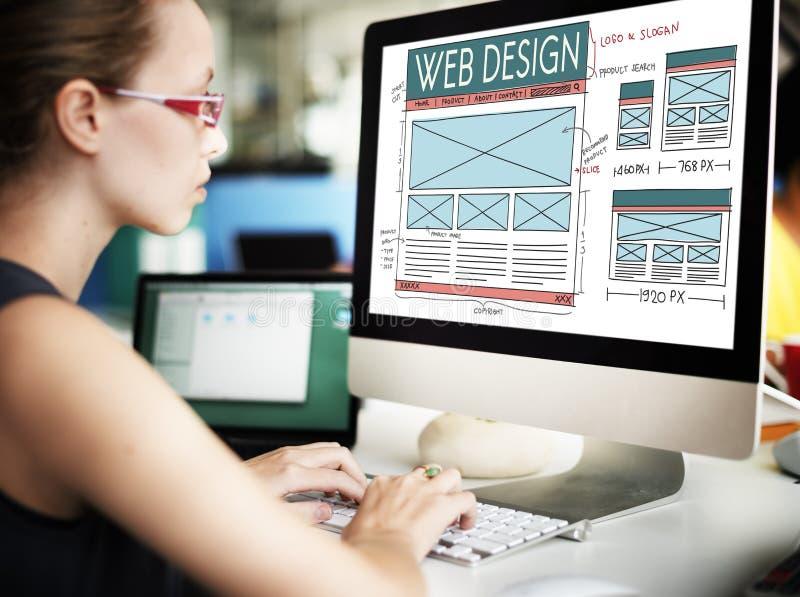 网络设计互联网布局技术主页概念 免版税库存图片