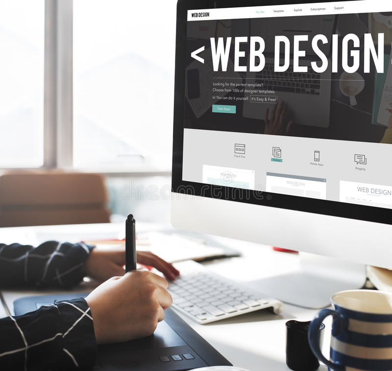 网络设计互联网网站敏感软件概念 免版税库存照片