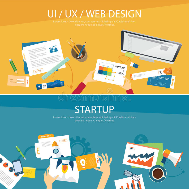 网络设计和起动概念平的设计 库存例证
