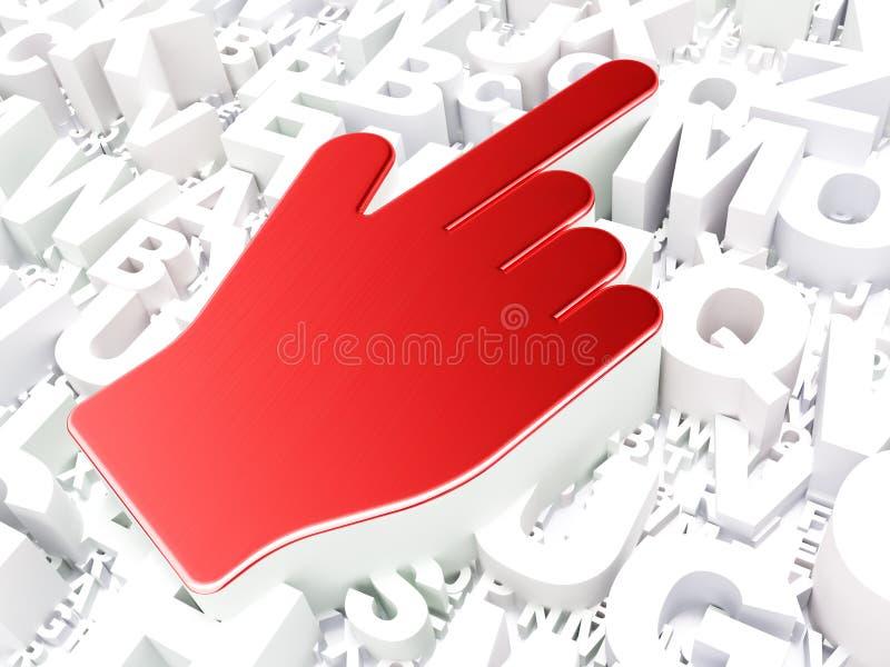 网络设计概念:在字母表背景的老鼠游标 免版税库存图片