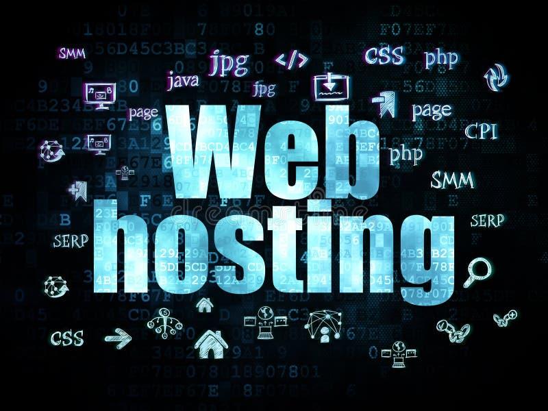 网络设计概念:网络主持在数字式 皇族释放例证