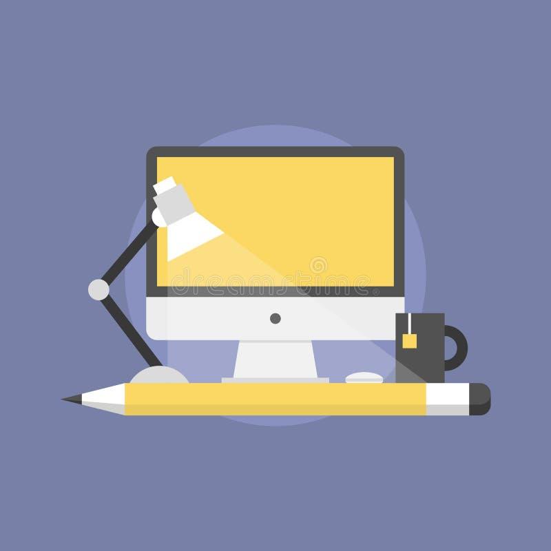 网络设计演播室平的象例证 库存例证