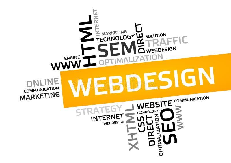 网络设计词云彩,标记云彩,向量图形 库存例证