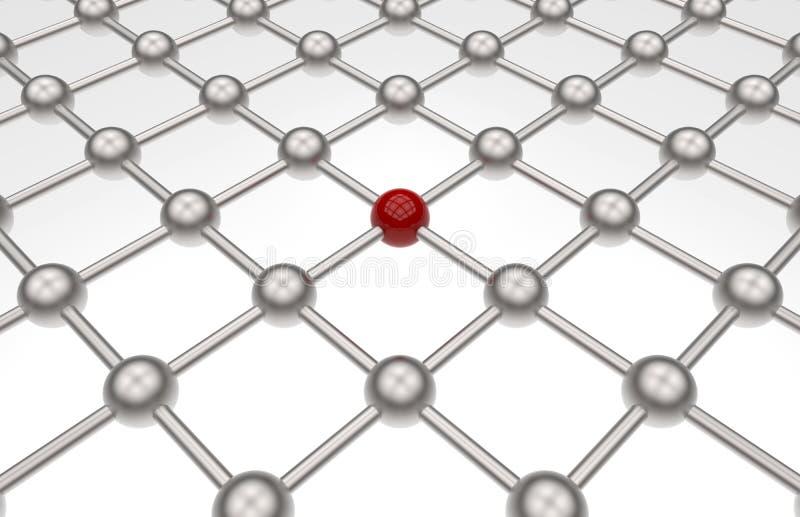 网络路径列阵-红色球形 库存例证