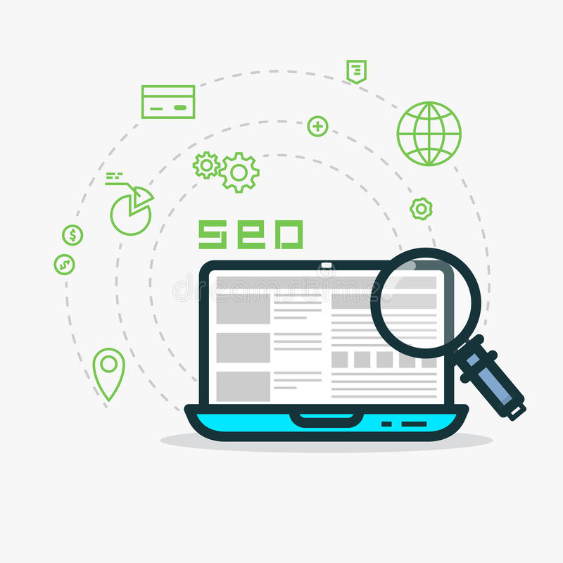网逻辑分析方法和SEO 向量例证
