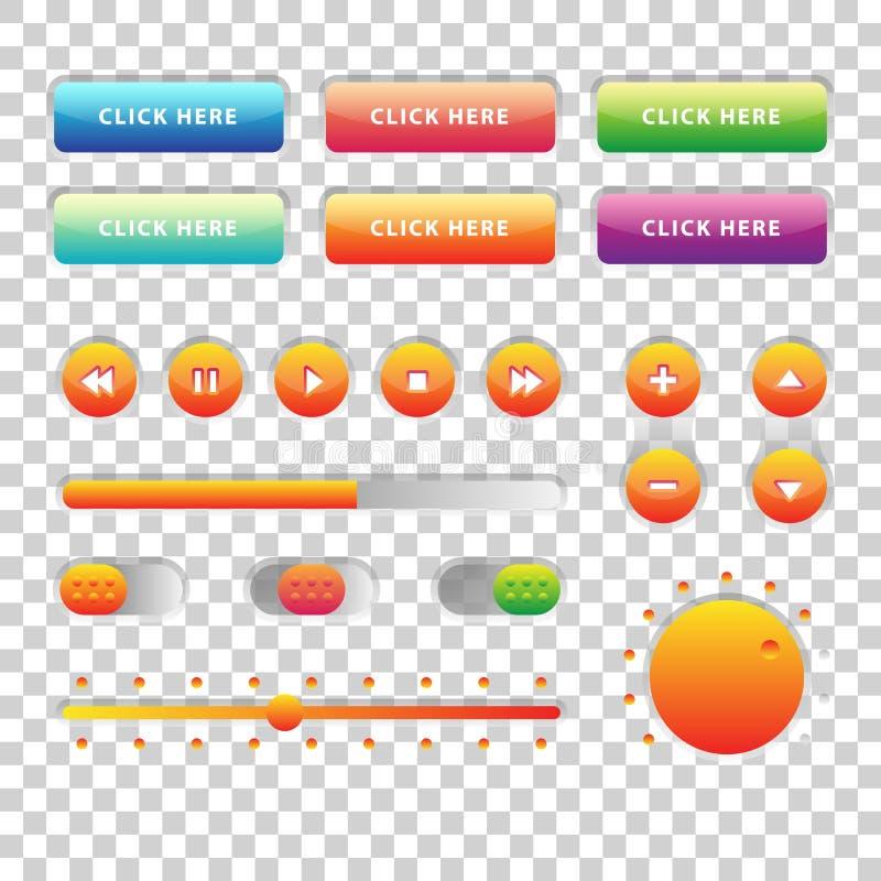 网UI UX音乐被设置的元素设计:按钮,调转工,滑子,装载者 库存例证