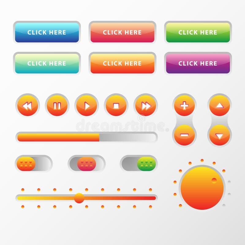 网UI UX音乐被设置的元素设计:按钮,调转工,滑子,装载者 向量例证