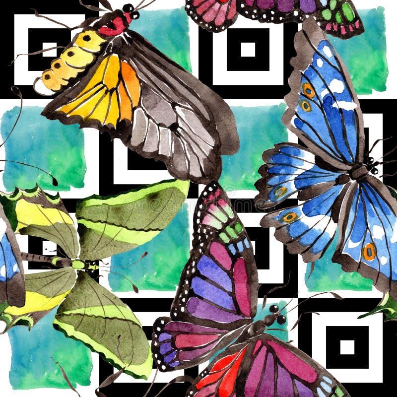 罕见的在水彩样式的蝴蝶野生昆虫 无缝的背景模式 织品墙纸印刷品纹理 皇族释放例证