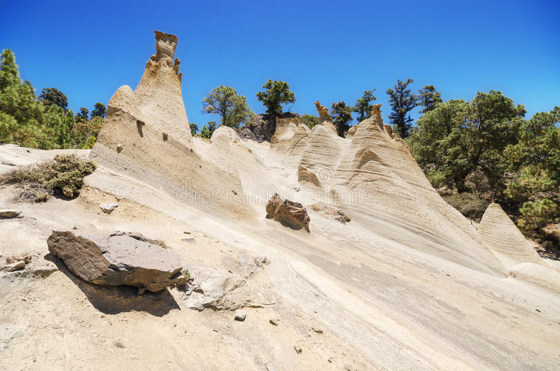 罕见的地质结构风景看法在一个火山的风景(moonscape)的在特内里费岛,西班牙 图库摄影