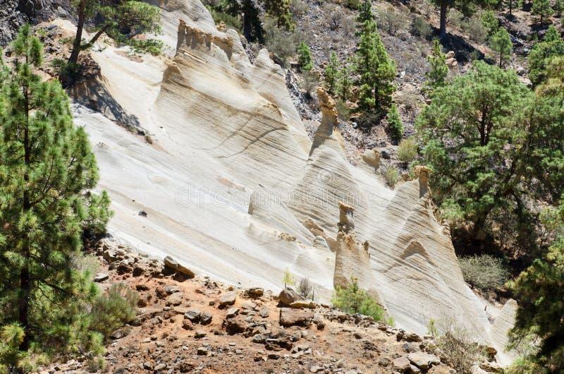 罕见的地质结构风景看法在一个火山的风景(moonscape)的在特内里费岛,西班牙 免版税库存照片