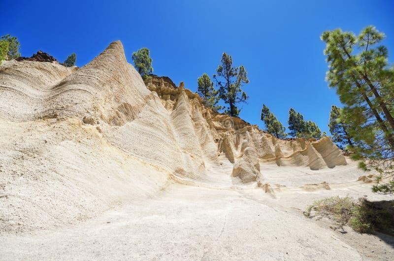罕见的地质结构风景看法在一个火山的风景(moonscape)的在特内里费岛,西班牙 免版税库存图片