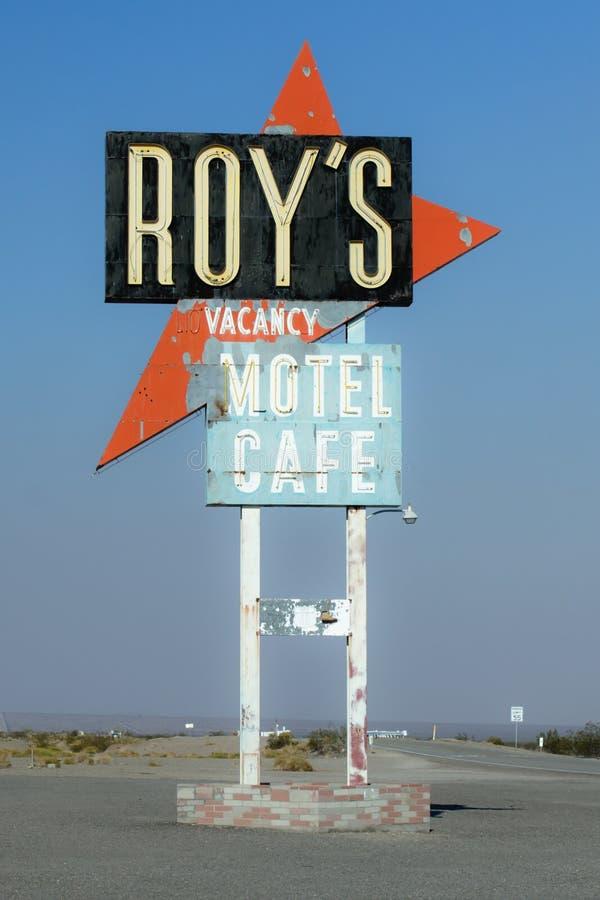 罗伊的咖啡馆霓虹灯广告 免版税图库摄影