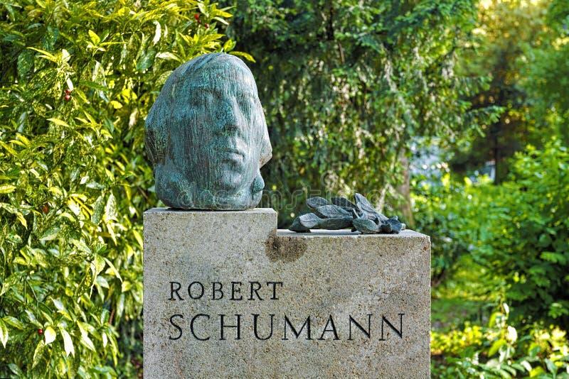 罗伯特・舒曼纪念碑在杜塞尔多夫,德国 免版税库存图片
