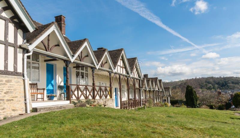 罗兰・希尔贫民院,临时房屋沥青,在边缘下的Wotton,格洛斯特郡 库存图片