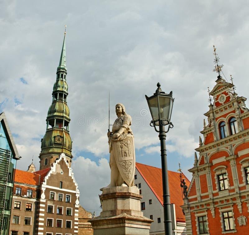 罗兰特雕象在里加,拉脱维亚。 免版税库存图片