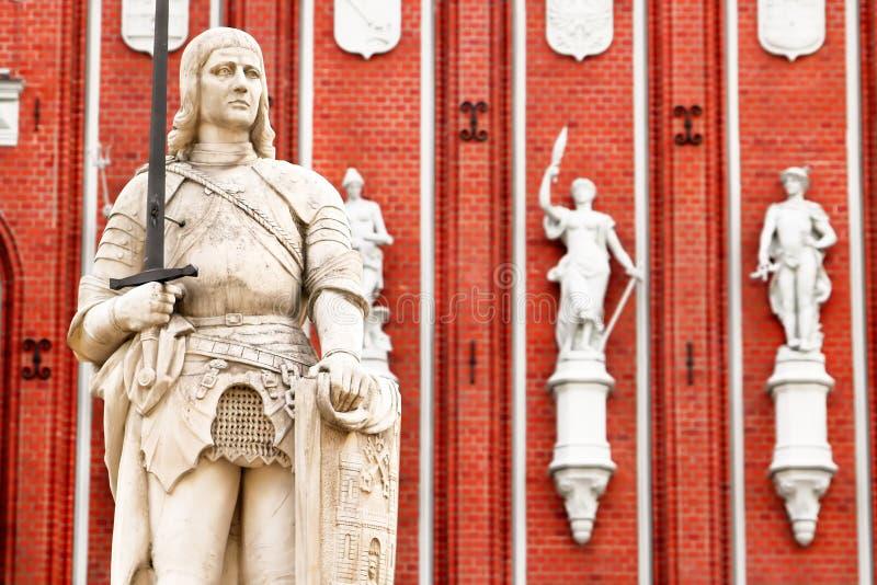 罗兰特,里加,拉脱维亚雕象  免版税图库摄影