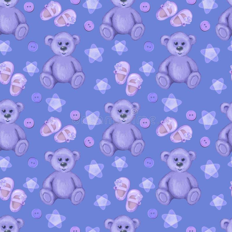 紫罗兰色无缝婴孩的 库存例证