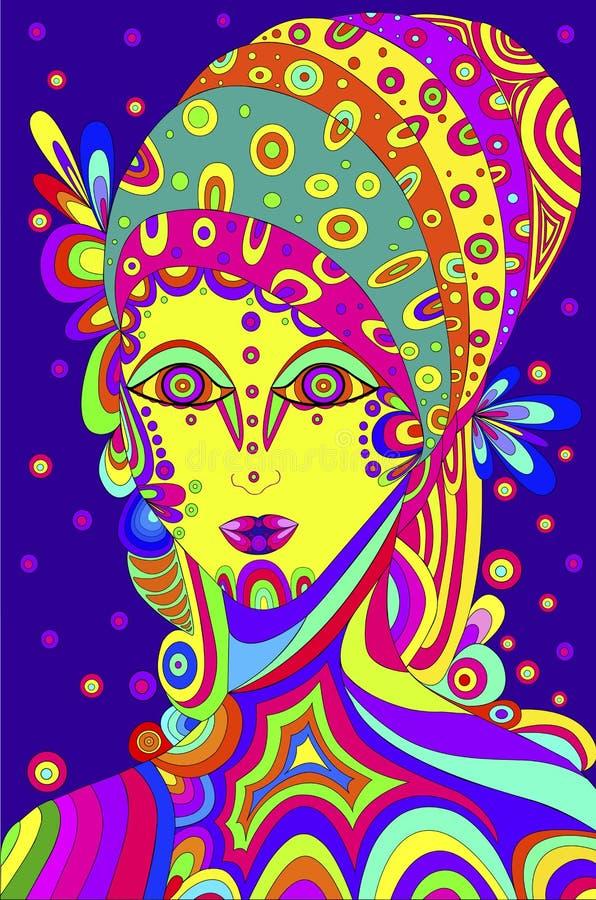 紫罗兰色背景的美丽的抽象女孩,传统化在一个嬉皮的样式,样式,线 库存例证