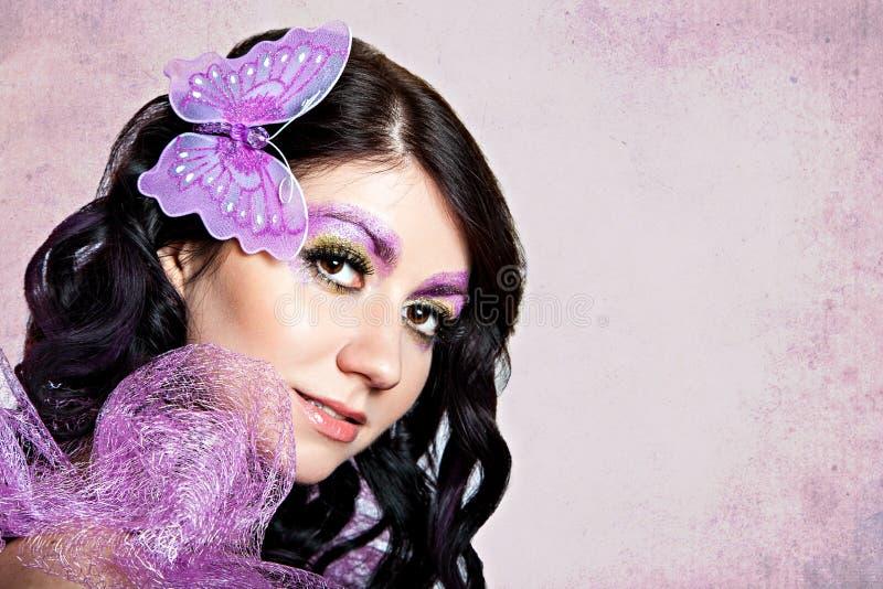 紫罗兰色蝴蝶构成 免版税图库摄影