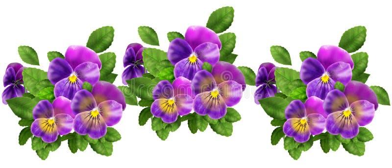 紫罗兰色蝴蝶花样式 库存例证