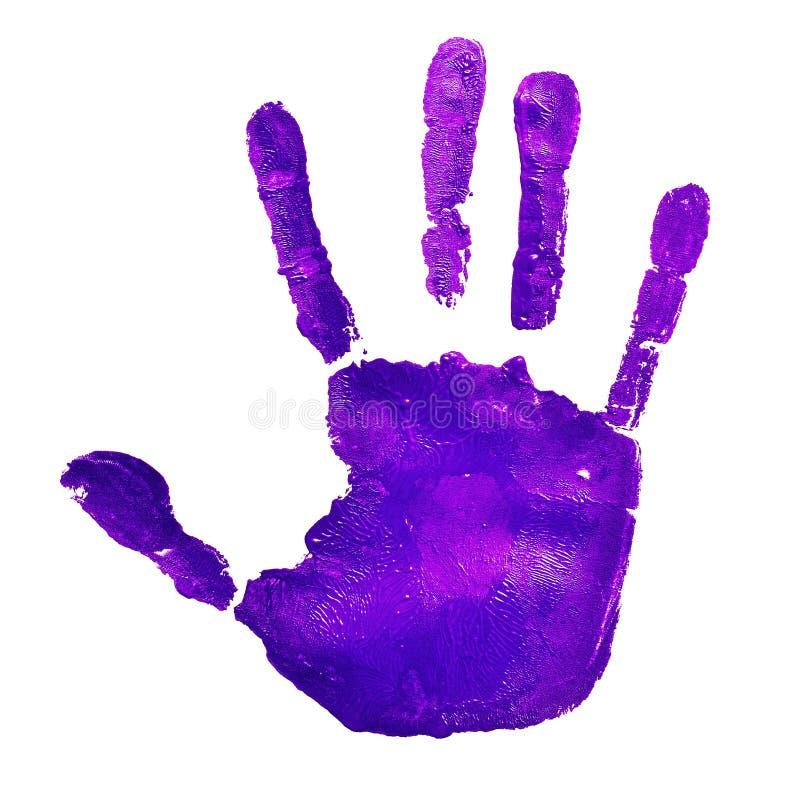 紫罗兰色handprint,描述想法停止暴力反对 库存图片