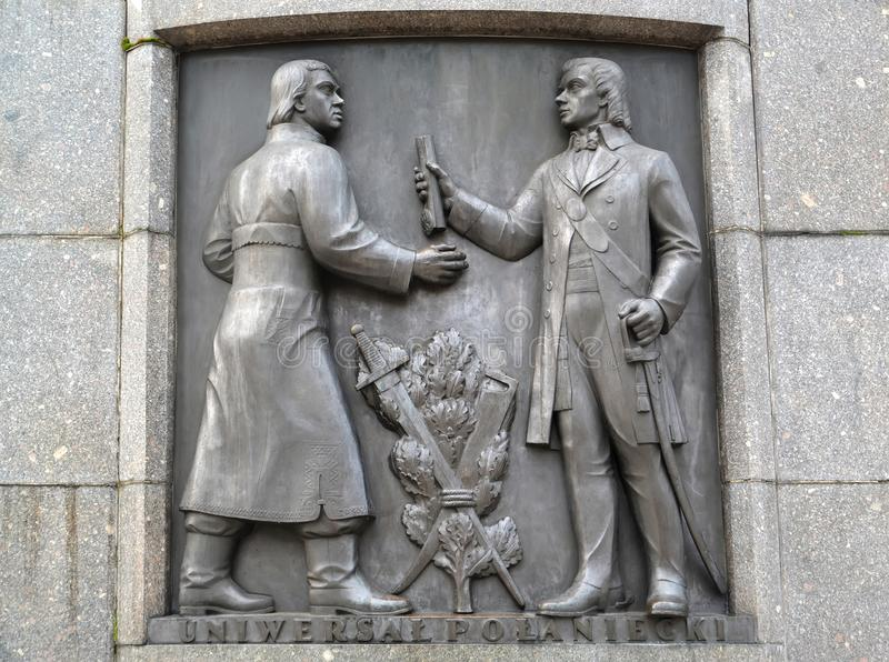 罗兹波兰 与塔德乌什科西阿斯科的图象的一个浅浮雕 科西阿斯科的纪念碑的片段自由广场的 图库摄影