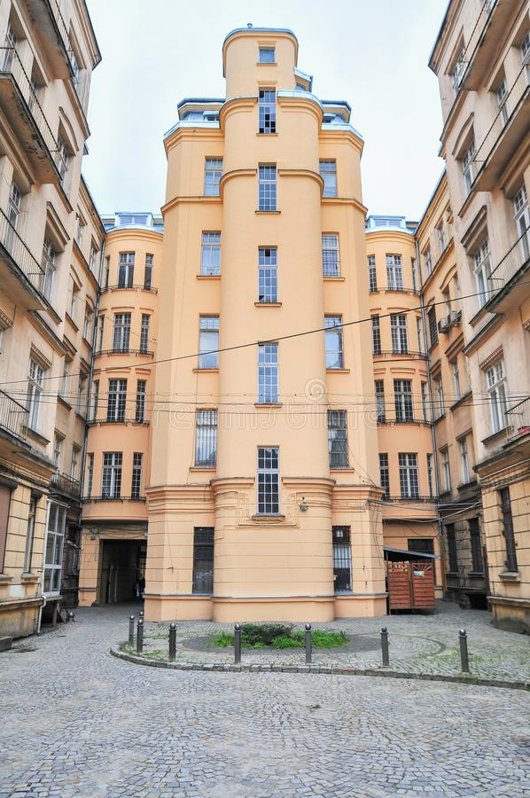 罗兹,波兰,2018年7月 庭院, 免版税库存图片